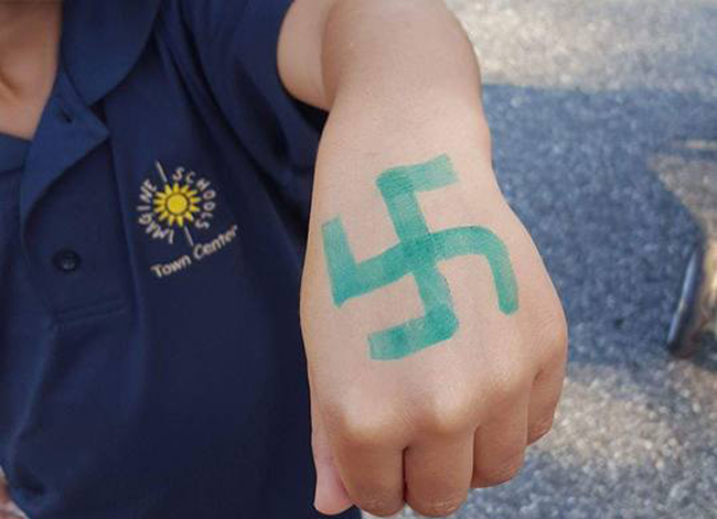 The swastika drawn on the hand of Letty Comins's grandson, a kindergartener at Imagine School at Town Center in palm Coast. (Mercedes Owens)