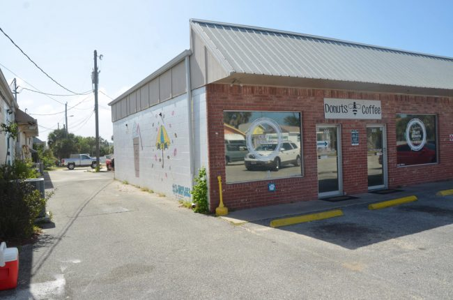 Swillerbees' mural is not easily visible to passersby. Click on the image for larger view. (© FlaglerLive)