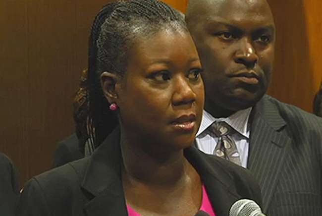 Trayvon Martin's mother, Sybrina Fulton, calling for the repeal of Florida's Stand Your Ground law at the Capitol Wednesday.