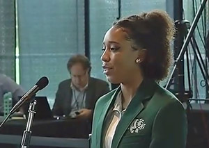 Bulldog Patrol member Sydni Leon as she presented to the commission. (© FlaglerLive via Florida Channel)