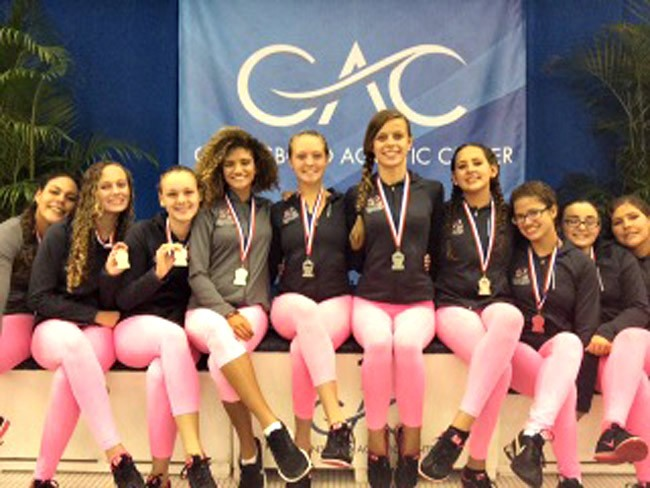 The Synchro Belles from left, Chiara Longo, Megan Lake, Cassandra Gubala, Yasmin Daiha, Alexandra McMillin, Victoria Woroniecki, Paige Areizaga, Samile Daiha, Alyssa Trent and Elyse Hinman.