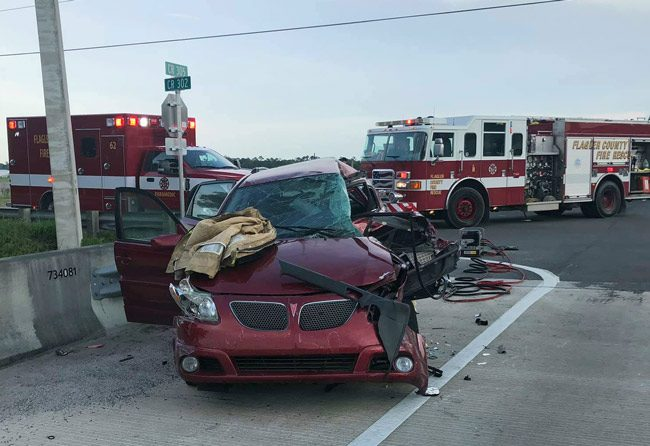 The Pontiac was t-boned. (Flagler County Professional Firefighters Local 4337)