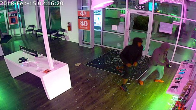 A surveillance still from the burglary a the T-Mobil store.