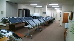 The Flagler elections office's ouch screen tabulators as they are being prepared for the election. Click on the image for larger view. (Supervisor of Elections Office)