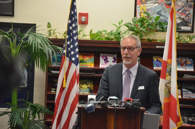 Superintendent JiM Tager at today's news conference at Buddy Taylor Middle School. He recurringly returned the focus on students. (© FlaglerLive)
