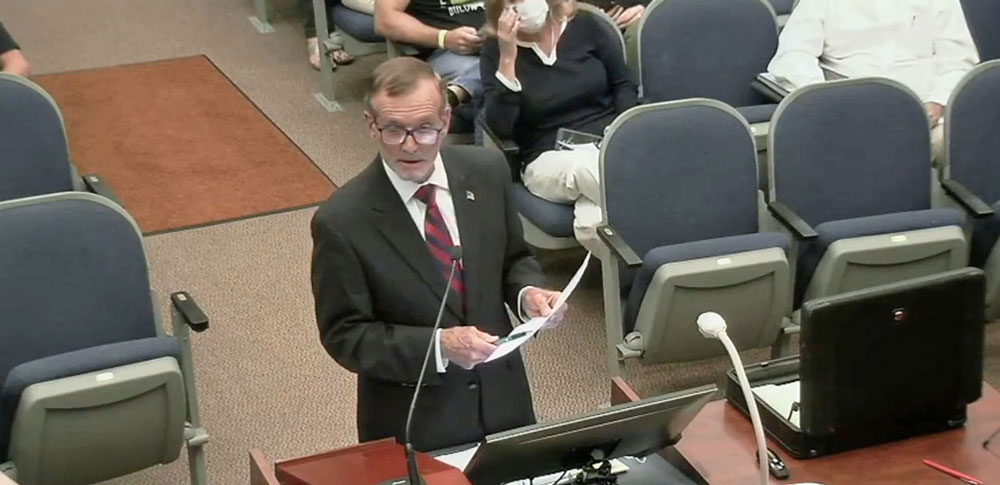 John Tanner, arguing the case against approval of The Gardens' development application at a long County Commission hearing Monday evening. (© FlaglerLive via YouTube)