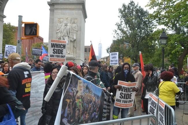tarantino protest washington square park new york