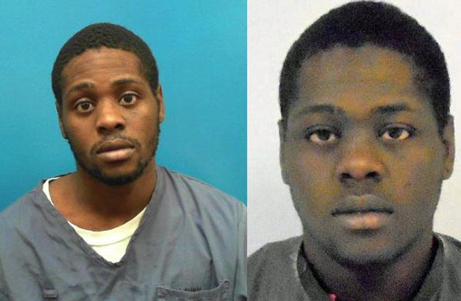 Tavares Calloway in his prison mug shot, left, and at the Flagler County jail in 2015.