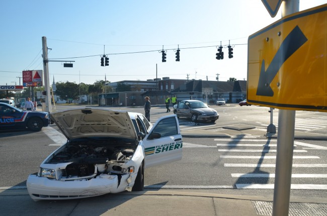 Flagler County Sheriff's corrections deputy Sandy Gay was at the wheel of a marked Crown Victoria when she blew a red light and crashed into the car driven by Paul Salvador Thursday morning. Click on the image for larger view. (© FlaglerLive)