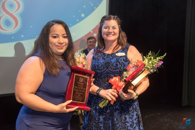 Ariana Perez, left, who works in the school district's central office, and Rymfire Elementary teacher Kate Sturman. (Flagler Schools)