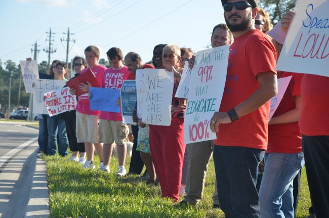 The last time teachers and supporters demonstrated for education in Flagler goes back to 2012. (© FlaglerLive)