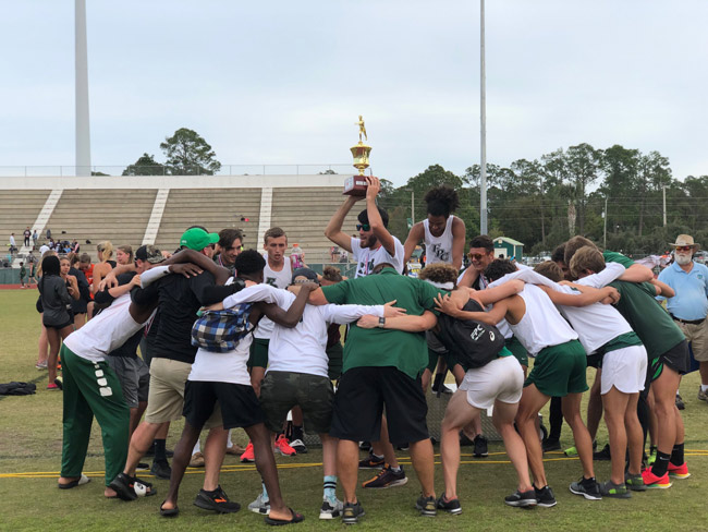 The Flagler Palm Coast High School track team Curtis Gray had joined, celebrating a victory at FPC on March 9. (Tracey Miley)