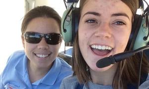 Emma McClimans and pilot Gigi Gonzalez.