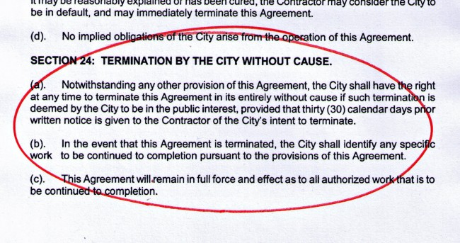 The termination clause that was in Palm Coast's contract with ATS until 2012, when then clause was inexplicably removed. Click on the image for larger view.