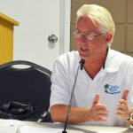 Terry McManus addressing the Flagler Beach City Commission in 2017, when his company, which was running the Ocean Palms Golf Club, was in a dispute with the city. (© FlaglerLive)