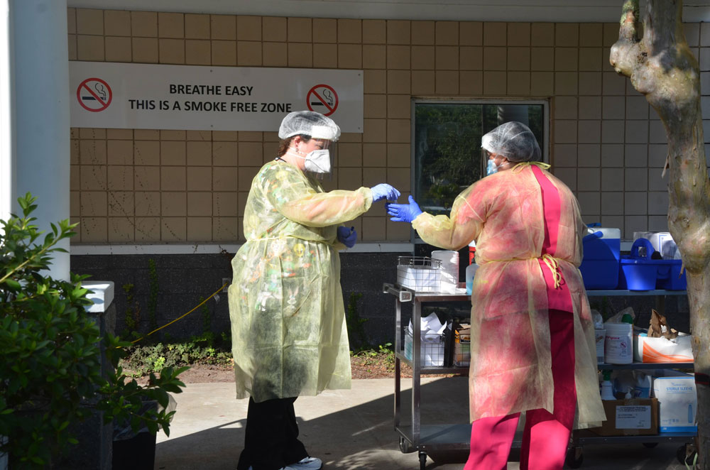 The testing site at the Flagler Department of Health on Dr. Carter Boulevard. (© FlaglerLive)