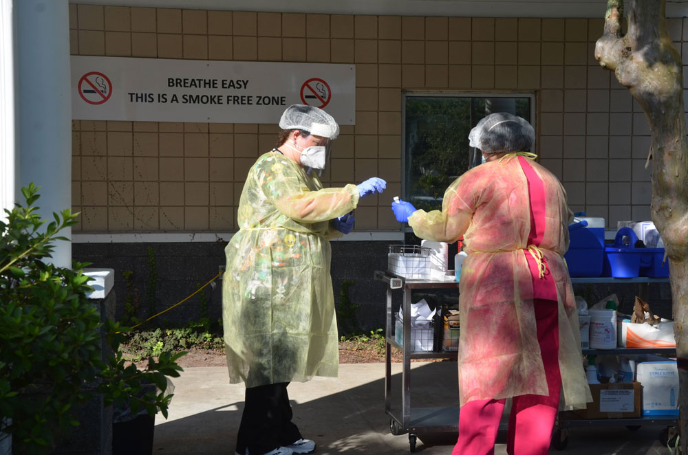 The testing site at the Flagler Health Department on Dr. Carter Boulevard in Bunnell. (© FlaglerLive)