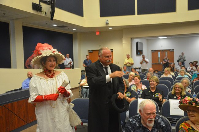 Diane Jacoby and John Stavely as Lily and Henry Flagler. Their performances were part of Saturday's centennial celebration at the Government Services Building in Bunnell. (© FlaglerLive)