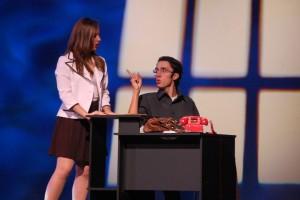 Actor Eddie Green gives Leana Gardella a piece of his mind. (© FlaglerLive)