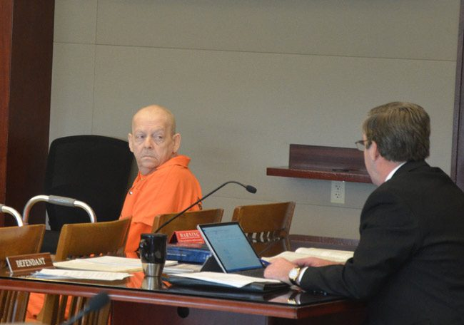 Thomas Binkley shortly before sentence was imposed. His attorney, Bill Bookhammer, is to the right. (© FlaglerLive)