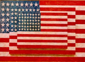 'Three Flags,' by Jasper Johns (1958). It's not known whether Johns used imported oils. Click on the image for larger view.