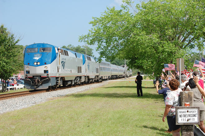 Bunnell Greets Amtrak Train