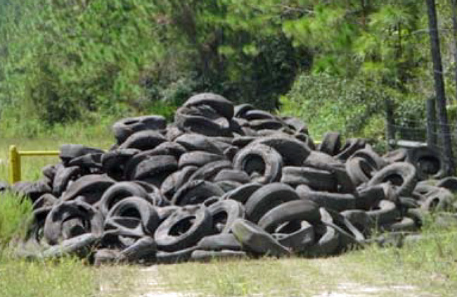 discarded tires old kings road