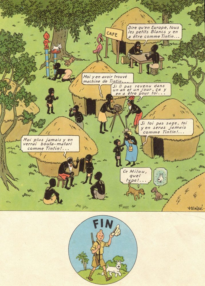 """The final, particularly offensive frames of """"Tintin in the Congo."""""""
