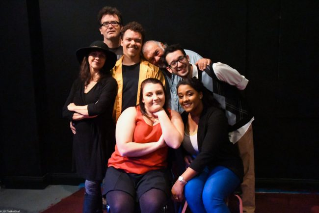 The [Title of Show] production:  left to right, Paul van de Graff, Beau Wade, John Sbordone, Frank Anello bottom. Leigh Ann Singleton, Caitlin Eriser, Phillipa Rose. (Mike Kitaif)