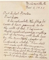 The letter William Gobitas wrote in opposition to saying the Pledge.
