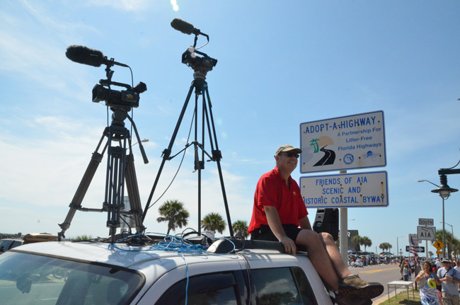 On top of the world: Palm Coast TV's Tom Hanson. (© FlaglerLive)