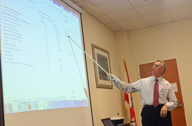 Flagler County School District Finance Director Tom Tant has been pointing to disparities that penalize Flagler's education funding for years. (© FlaglerLive)