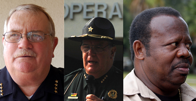 Flagler County's top cops. From left: Flagler Beach Police Chief Dan Cody, Flagler County Sheriff Don Fleming, Bunnell Police Chief Arthur Jones. (© FlaglerLive)
