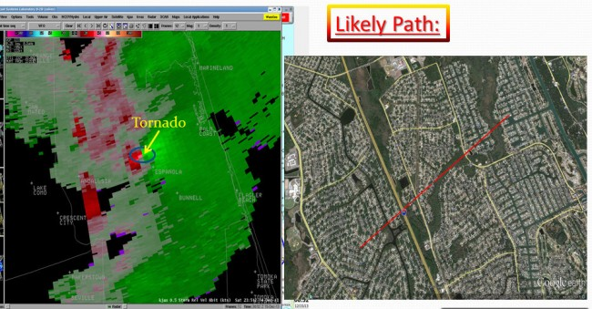 The National Weather Service Sunday morning confirmed that it was an EF1 Tornado that struck Palm Coast. The NWS released the satellite image above, and the likely path of the tornado. Click on the image for larger view.