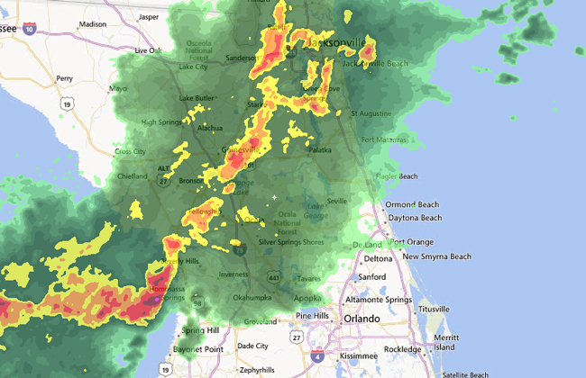 A broad band of potentially dangerous storms is extending across Florida from the Gulf to the Northeast, and will cut across Flagler Saturday afternoon.