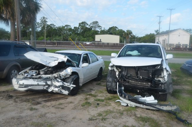 Daniel Torres drove the Toyota Camry on the left. Marlene Adams was at the wheel of the SUV to the right. Click on the image for larger view. (© FlaglerLive)