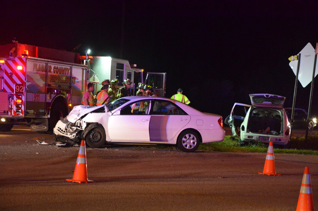 The wreck involved two sedans at the intersection of SR 100 and Landing Boulevard. (c FlaglerLive)