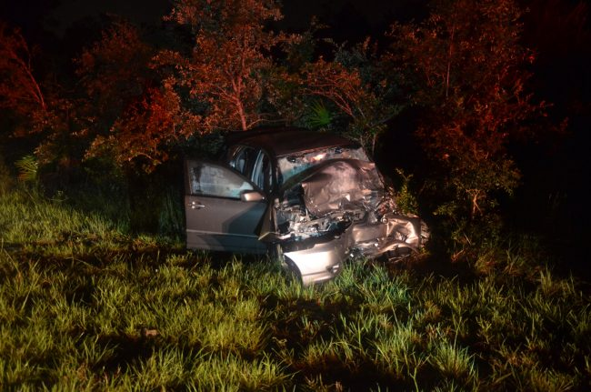 The Toyota Corolla after the head-on collision on Old Kings Road. Click on the image for larger view. (© FlaglerLive)