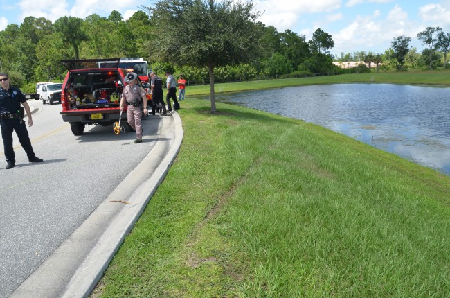 The track of the Ford Escape's right tires. At that point, the SUV was still submerged in the pond, but was barely visible. Click on the image for larger view. (© FlaglerLive)
