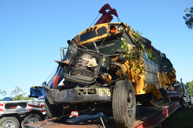 One of the three buses mangled in the crash Tuesday night on I-95 just north of Palm Coast Parkway. (c FlaglerLive)