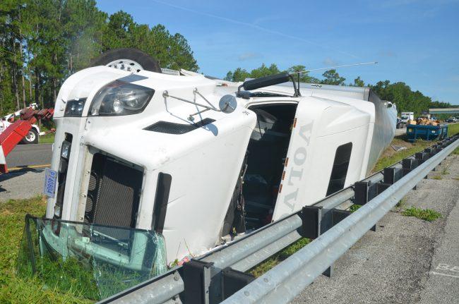 trailer overturns