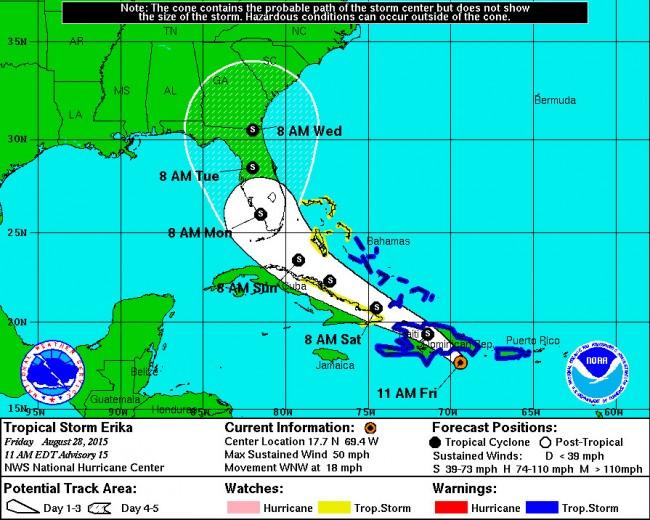 tropical storm erika florida