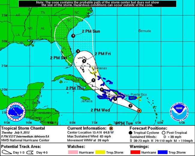 Tropical Storm Chantal at 8 p.m. Tuesday, July 9. click on the map for larger view. (NOAA)