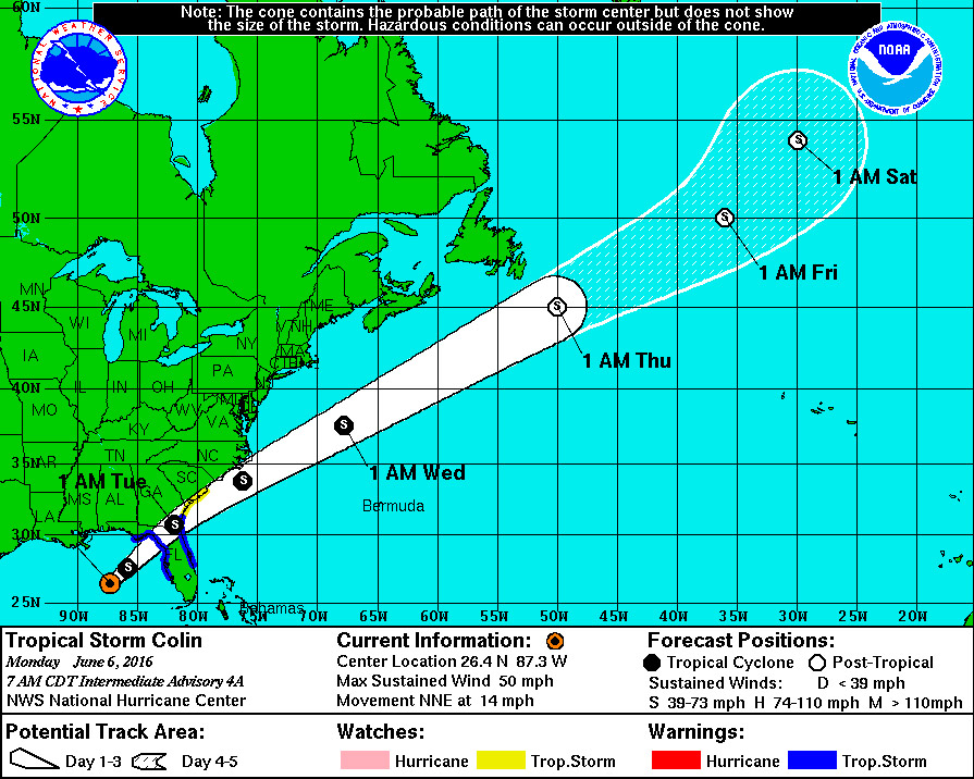 Tropical Storm Colin's path as of this morning. But the National ...