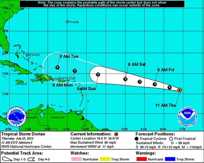 Tropical Storm Dorian as of 11 a.m. Thursday. Click on the map for larger view. (National Hurricane Center)