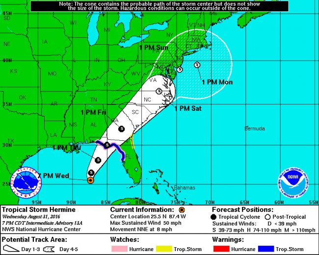 Tropiocal Storm Hermine's path, as of Wednesday evening, well north of Flagler County. See details here. (NOAA)