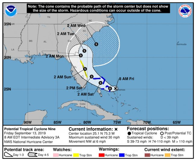 The tropical storm is now expected to go up the Florida coast over the weekend.