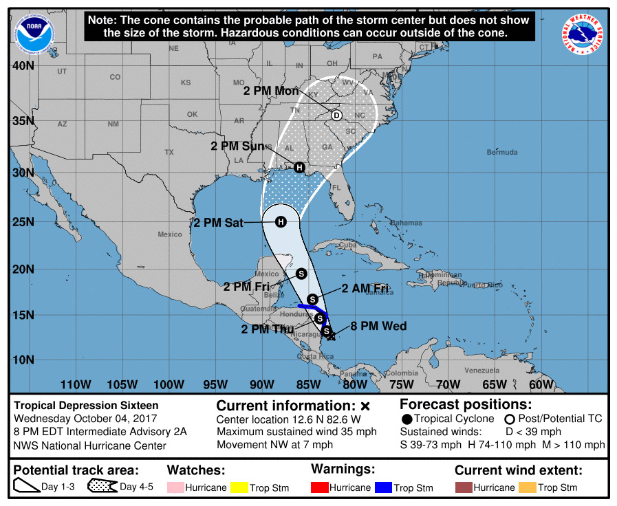What is expected to become Tropical Storm Nate, then Hurricane Nate, is brewing off the coast of Central America, on a path for the Florida Panhandle. (NOAA)