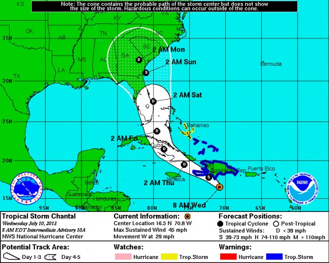 Tropical Storm Chantal as of Wednesday, July 10, 8 a.m. Click on the image for larger view.