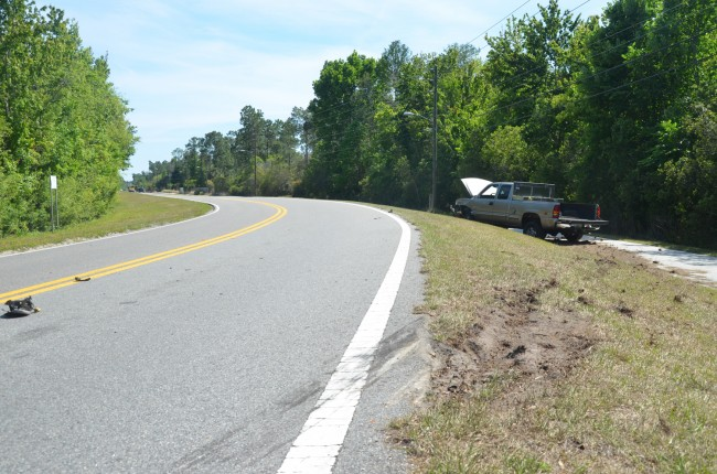 Where the truck swerved off the road. Click on the image for larger view. (© FlaglerLive)